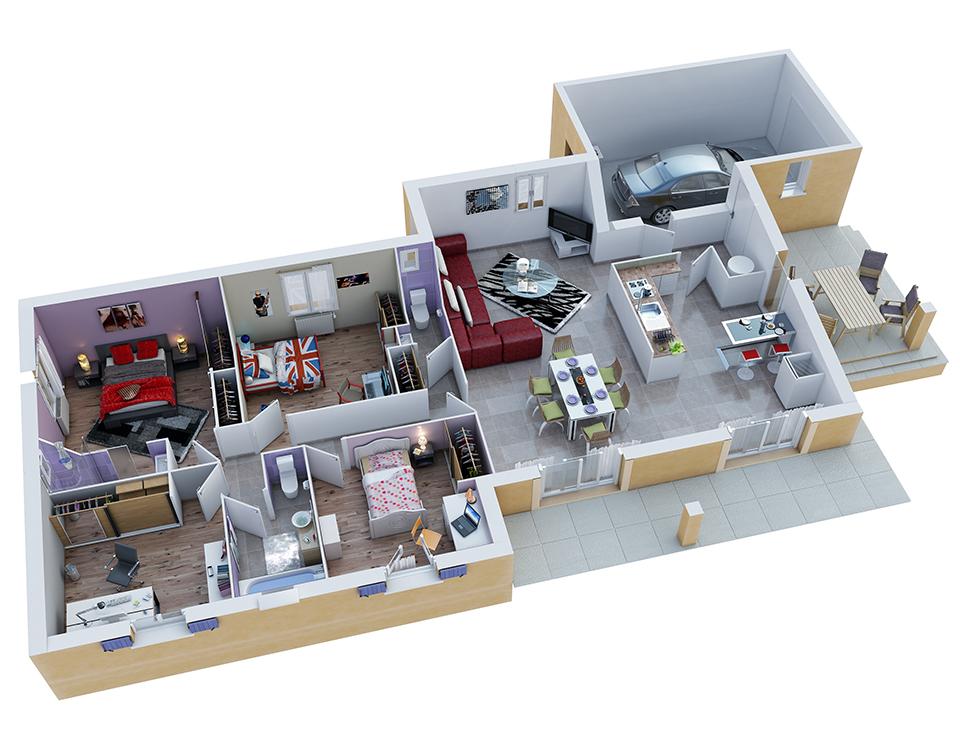 plan maison proven ale mod le aurel g noise villas trident. Black Bedroom Furniture Sets. Home Design Ideas