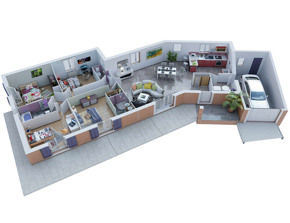Plan maison proven ale mod le ecrin g noise villas trident for Plan de maison americaine
