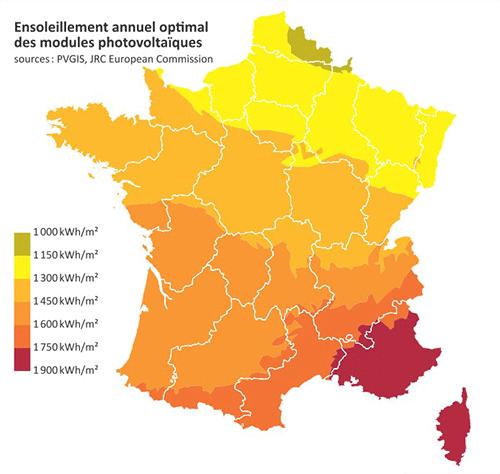 Carte des région pour installer panneaux photovoltaiques